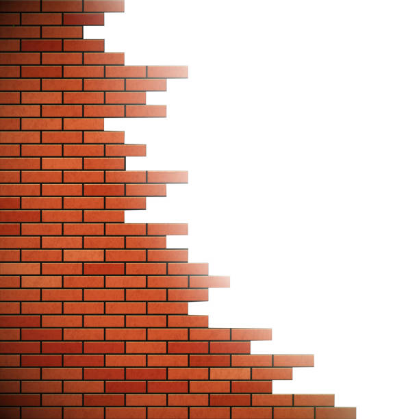 Hole in the wall. Wall of red brick. Hole in the wall. Stock vector illustration. demolished stock illustrations