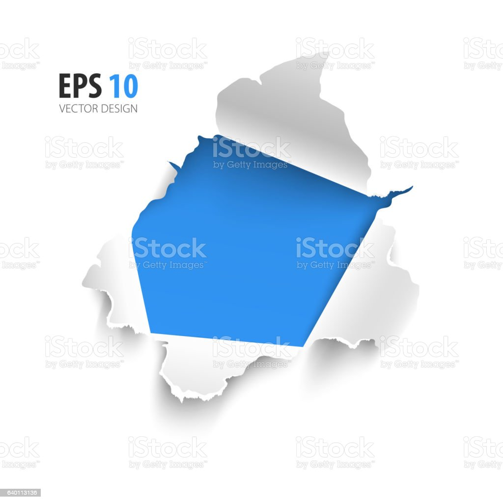 Hole in white paper on blue background. Space for text. vector art illustration