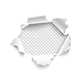 Hole in white paper. Vector illustration. Vector torn paper for scrapbook, web and print.