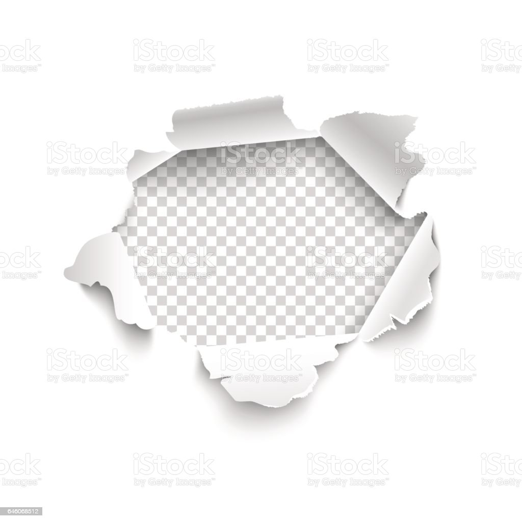 Hole in white paper. Vector torn paper. vector art illustration