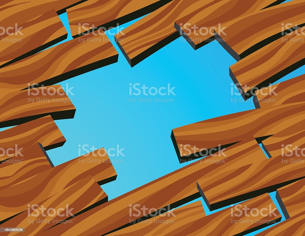 Hole in wood floor vector art illustration