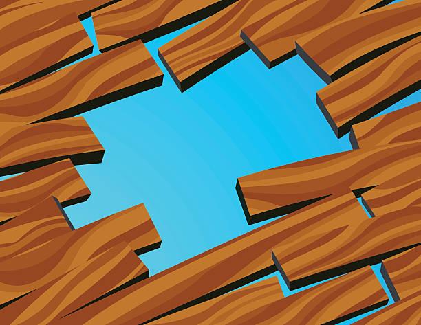 Hole in wood floor vector art illustration