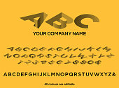 Logo sunk character style corporate identity logo font design, alphabet letters and numbers, vector illustration