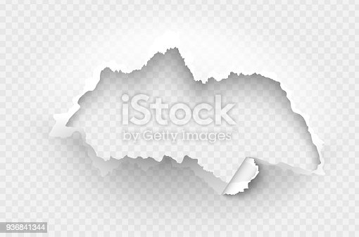 istock Hole torn in ripped paper on transparent background 936841344