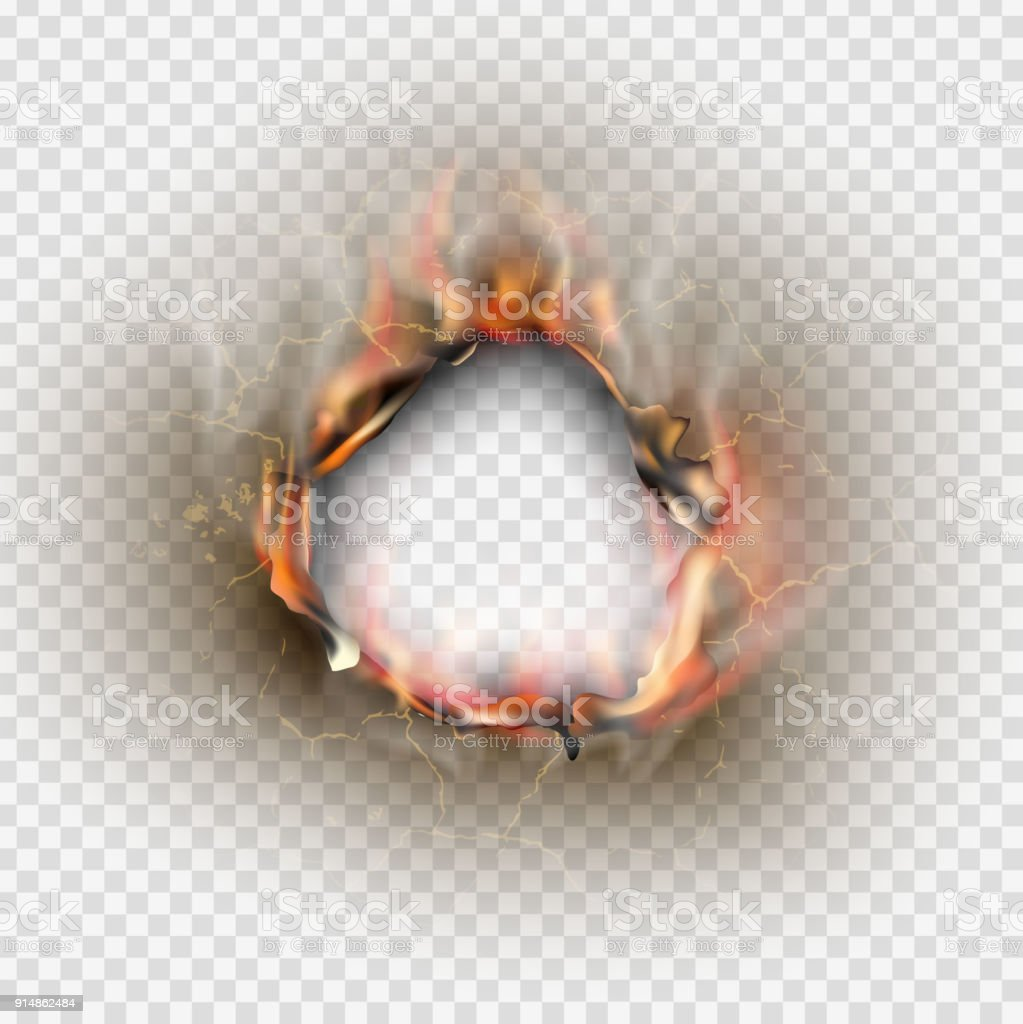 Hole torn in ripped paper with burnt and flame on transparent background vector art illustration