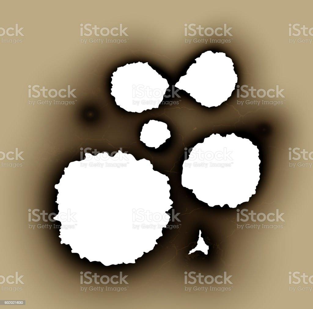破れた紙の破れた穴が焦げたし炎 ひびが入ったのベクターアート素材や