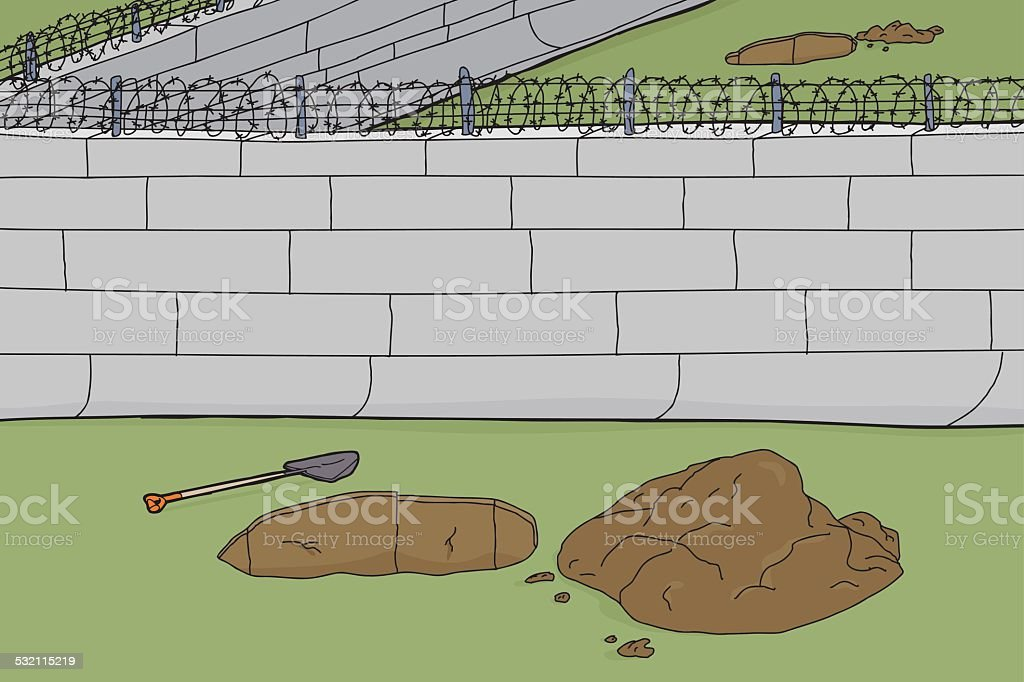 Holes Dug Out at Prison Wall vector art illustration