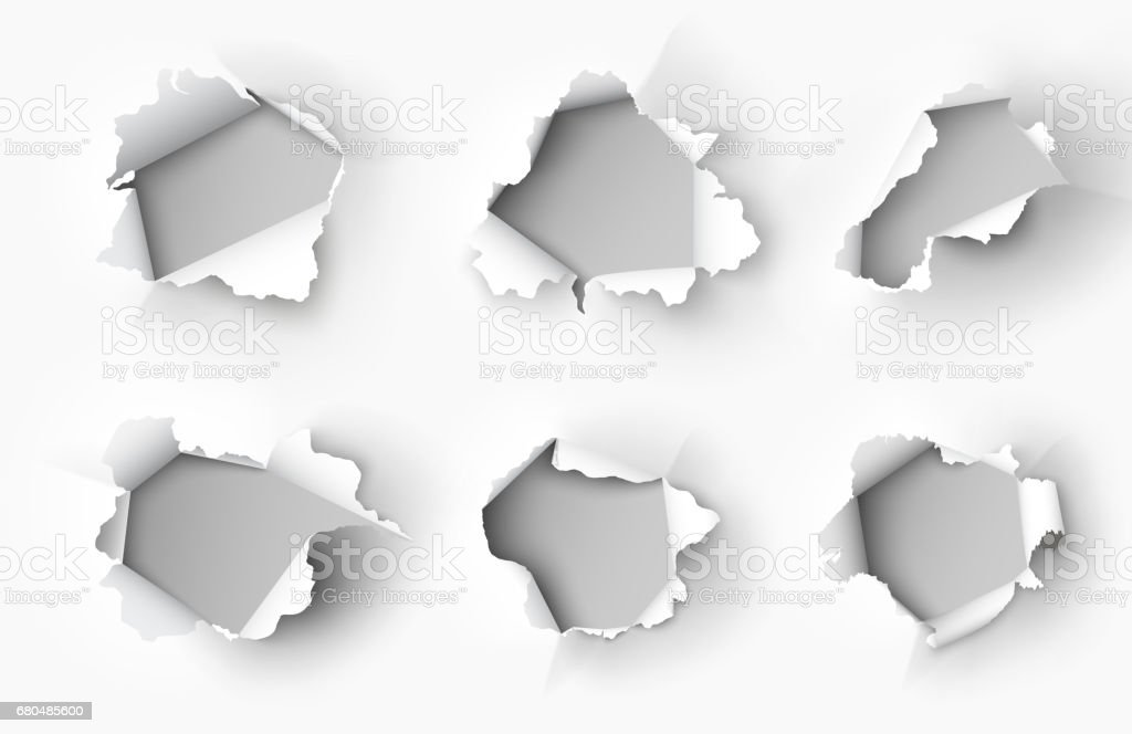 Holes torn in paper on white background vector art illustration