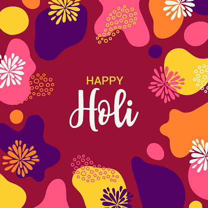 Holi greeting card with abstract shapes and fireworks. Vector illustration