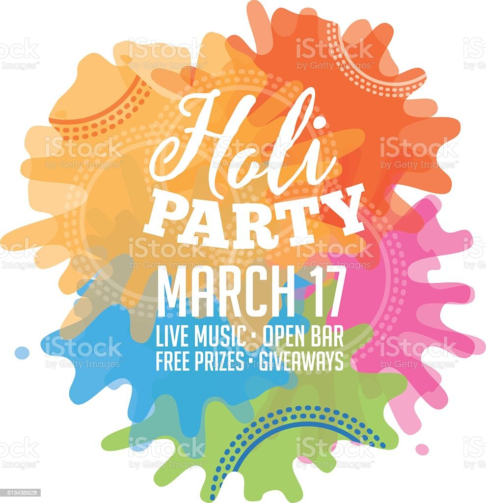 Holi Party Invitation Poster Greeting Card Design Stock Vector Art ...