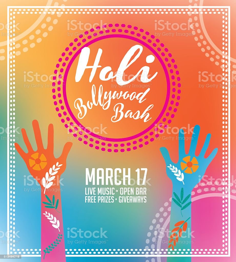 Holi Party Invitation Poster Greeting Card Design Stock