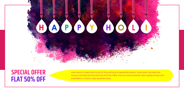 Holi Sale banner with hand written modern calligraphy stock illustration