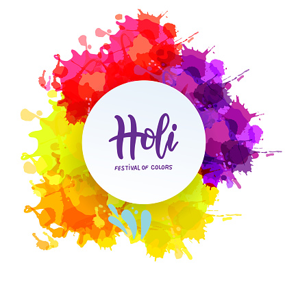 Holi spring festival of colors lettering vector design element. Can use for banners, invitations and greeting cards. Bright blots with round white frame
