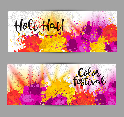 Holi spring festival . Vector background with colorful with watercolor blots Holi