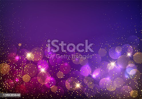 Holiday Abstract shiny color gold bokeh design element and glitter effect on purple background. For website, greeting, discount voucher, greeting and poster design