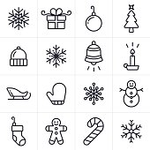 Christmas and holiday icon and symbol collection. Sixteen icons and symbols including a set of four unique snowflakes, a gift, an ornament, a christmas tree and winter hat. Also includes a winter mitten, snowman, candle, santa's sleigh, a christmas stocking, candy cane, and gingerbread man.