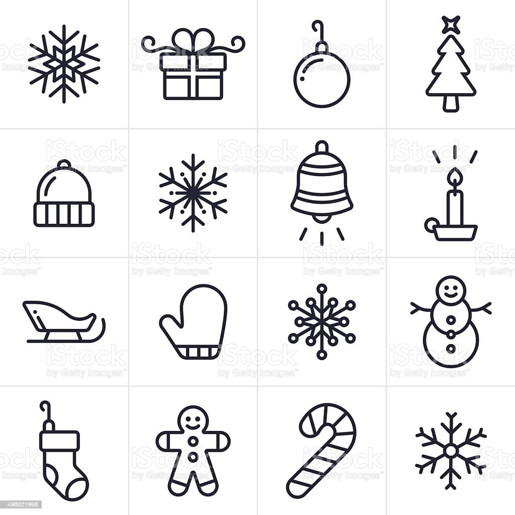Holiday and Christmas Icons and Symbols vector art illustration