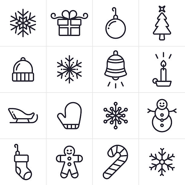 Holiday and Christmas Icons and Symbols Christmas and holiday icon and symbol collection. Sixteen icons and symbols including a set of four unique snowflakes, a gift, an ornament, a christmas tree and winter hat. Also includes a winter mitten, snowman, candle, santa's sleigh, a christmas stocking, candy cane, and gingerbread man. mitten stock illustrations