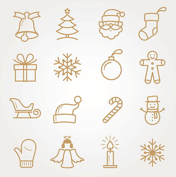 SET Holiday and Christmas Icons SET Holiday and Christmas Icons christmas icons stock illustrations