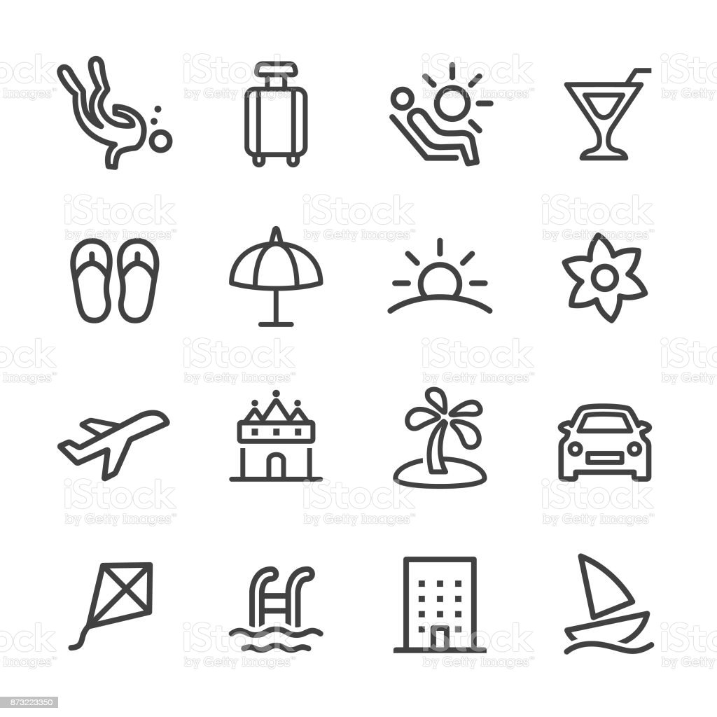 Holiday and Summer Icons - Line Series vector art illustration