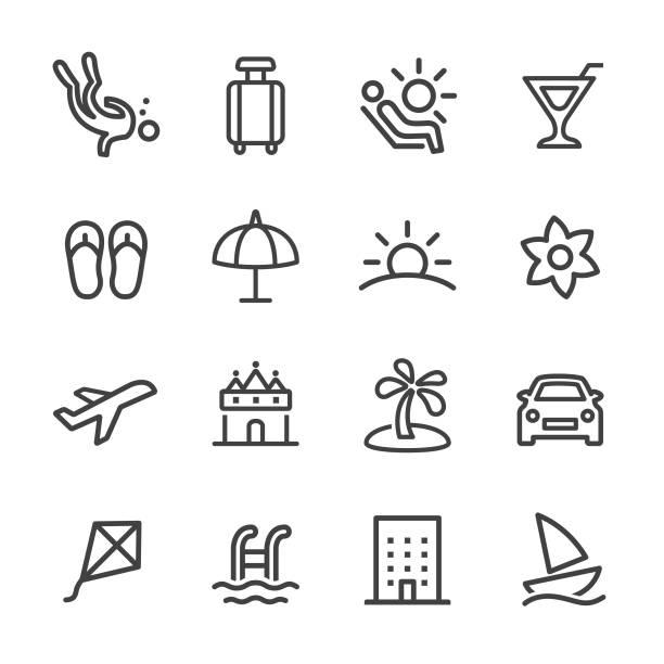urlaub und sommer ikonen - line serie - segeln stock-grafiken, -clipart, -cartoons und -symbole
