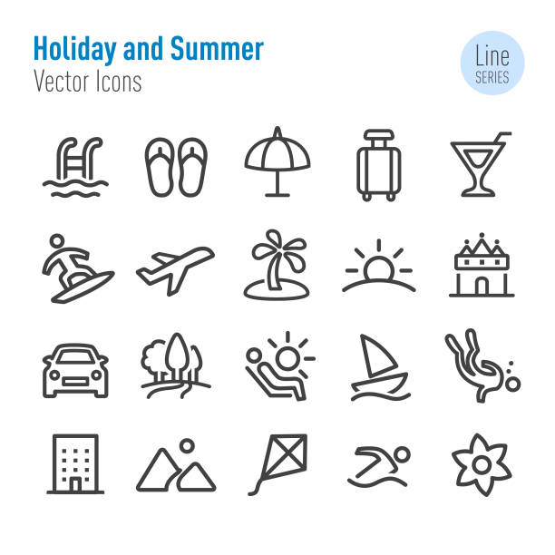 Holiday and Summer Icons - Vector Line Series Holiday, Summer, hobbies stock illustrations