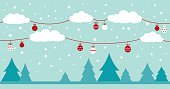 Holiday background - Christmas trees and clouds decorating with holiday toys