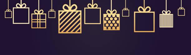 urlaub hintergrund dekoration horizontale banner mit geschenk-boxen hängen - weihnachtsgeschenk stock-grafiken, -clipart, -cartoons und -symbole
