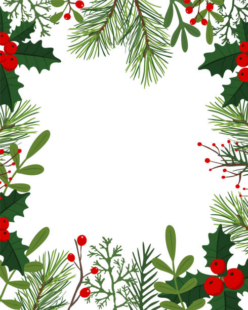 Holiday Background - Illustration USA, Christmas, Holiday - Event, Backgrounds, Winter berry fruit stock illustrations
