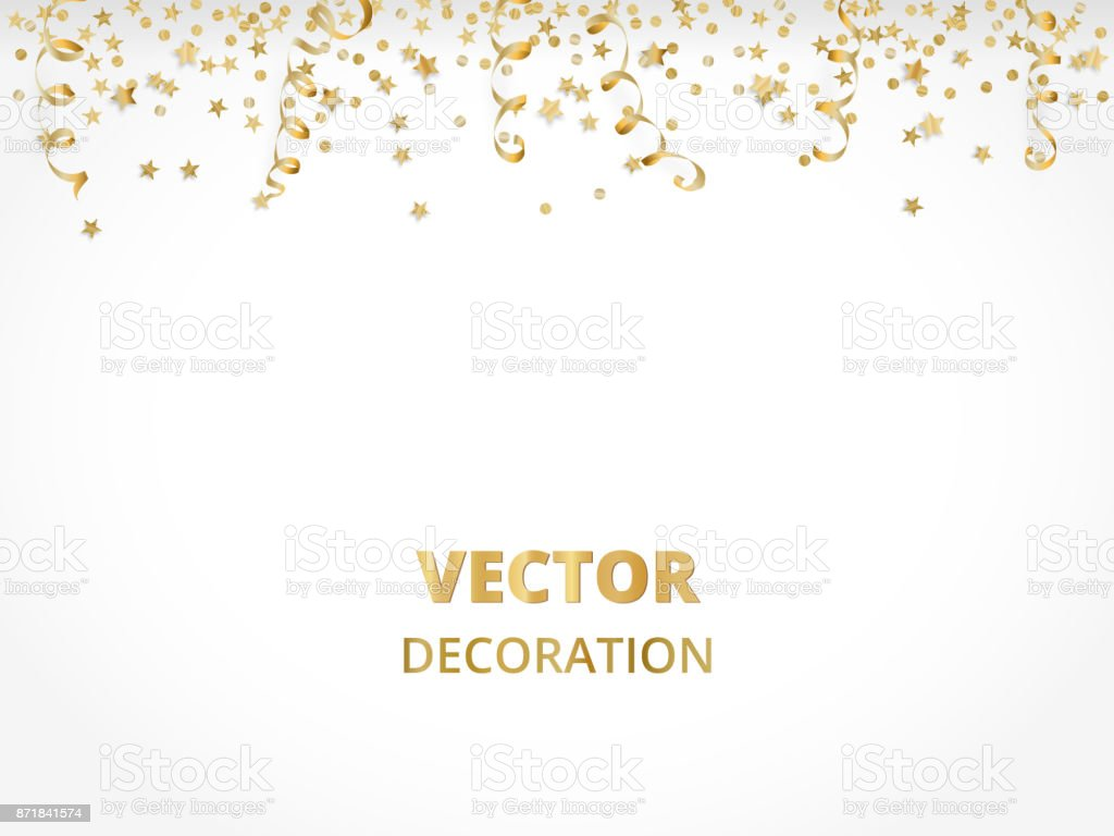 Holiday background. Isolated golden garland border, frame. Hanging baubles, streamers, falling confetti vector art illustration
