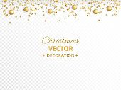 Holiday background. Isolated golden garland border, frame. Hanging baubles and streamers. Falling confetti. For Christmas, New year cards, birthday and wedding invitations, banners, party posters.