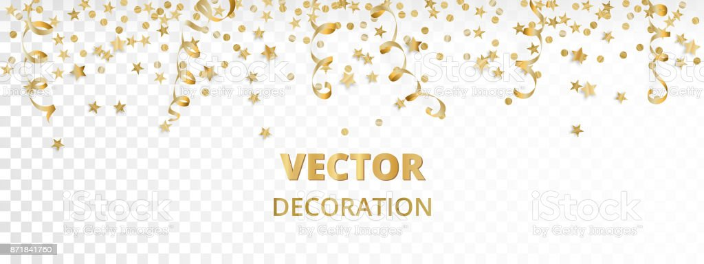 Holiday background. Isolated golden garland border, frame. Hanging baubles, streamers, falling confetti - illustrazione arte vettoriale