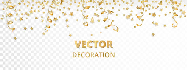 isolated golden garland border frame hanging baubles streamers falling festive vertical christmas and new year background