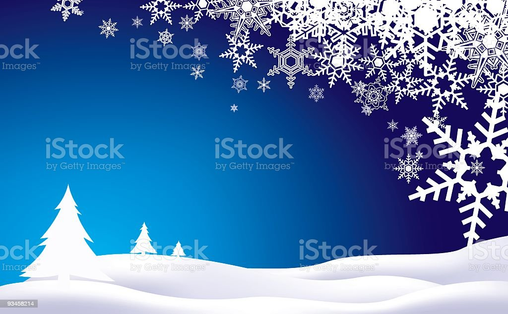 Holiday background of snowflakes and trees royalty-free stock vector art