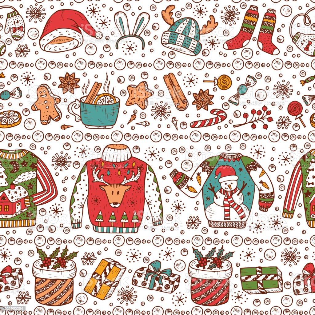 Holiday Background Ugly Christmas Sweater Party Vector Xmas ...