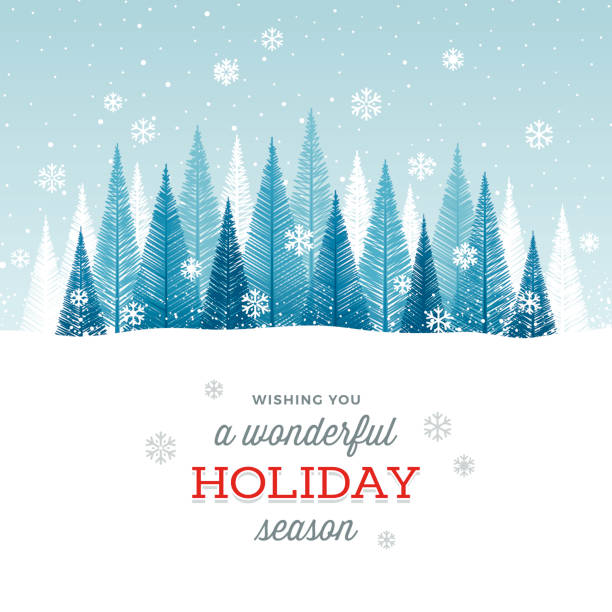 Holiday Background Simple graphic Christmas tree forest with snowflakes and greetings. christmas backgrounds stock illustrations