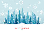 Simple graphic Christmas tree forest with snowflakes and greetings.
