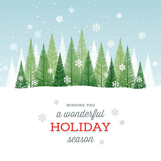 Holiday Background Simple graphic Christmas tree forest with snowflakes and greetings. holiday background stock illustrations
