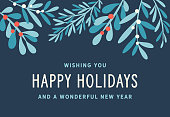 Holiday, Christmas background with stylized mistletoe and other branches and leaves.