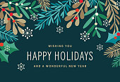 Holiday, Christmas background with stylized mistletoe and other branches and leaves. Holiday greeting card.