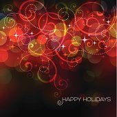 Defocused Christmas lights with swirls and text.EPS 10 file with transparencies.Only gradients used.File is layered with global colors.High res jpeg included.More works like this linked below.