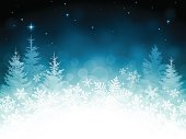 Holiday background. EPS 10 file with transparencies.Only gradients used.File is layered with global colors.High res jpeg an AI 10 file with uncropped snowflakes and trees included.More works like this linked below.