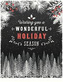 Hand drawn Holiday, Christmas background with forest, evergreen trees, snow,