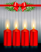 Holiday Greeting. Christmas Candle Composition.