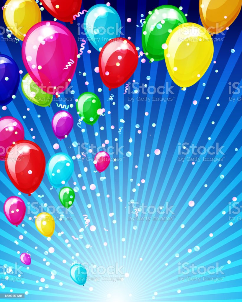 Holiday background with balloons and confetti. vector art illustration