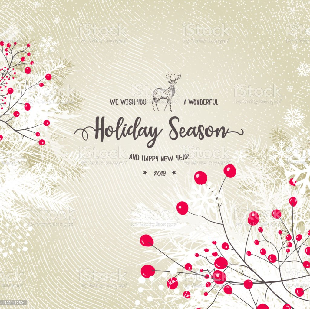 Holiday Background with Berry Fruit vector art illustration