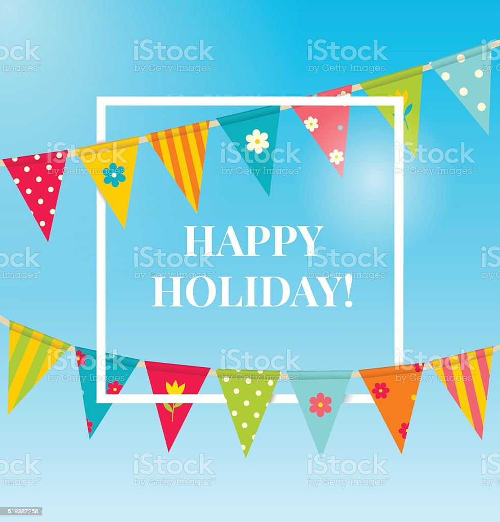 Holiday background with bunting flags. vector art illustration