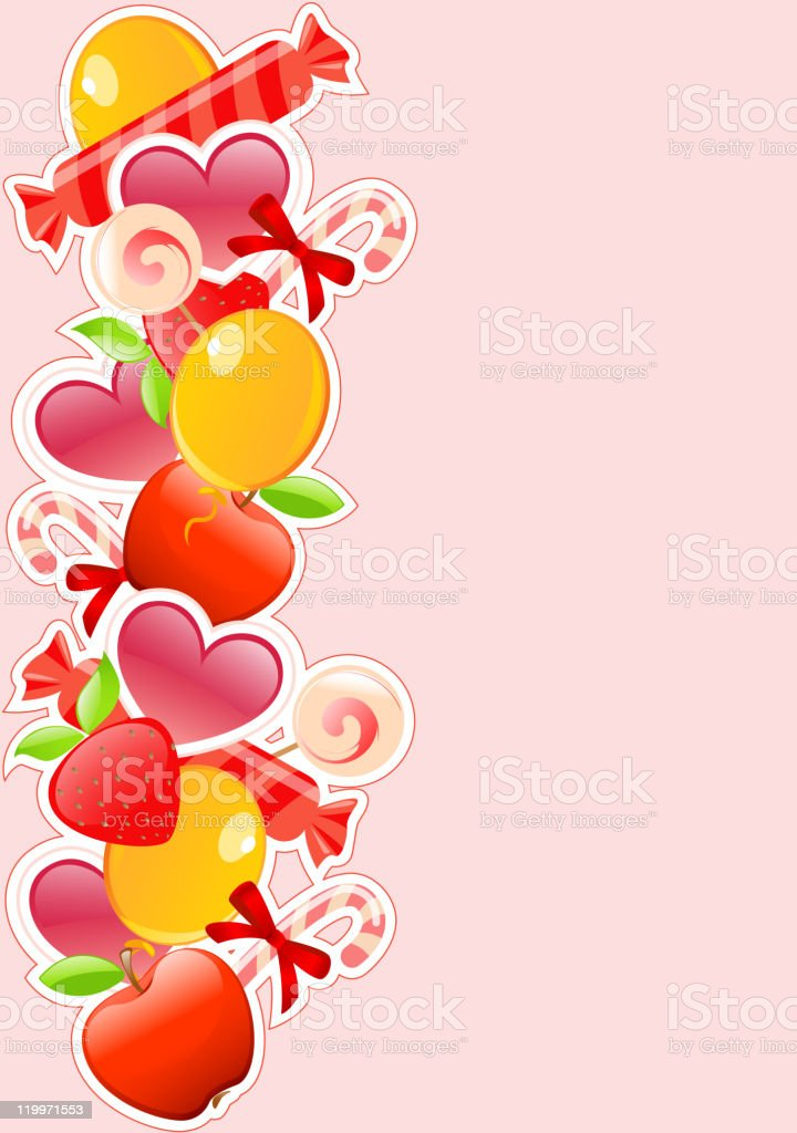 holiday background with candy and fruits royalty-free holiday background with candy and fruits stock vector art & more images of apple - fruit