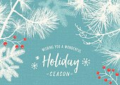 Holiday background with evergreen branches and berries. File is layered, global colors used.