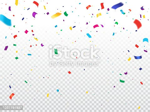 istock Holiday background with flying confetti 1257191937